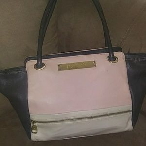Steve Madden leather tote pink white navy blue